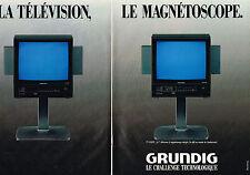 PUBLICITE ADVERTISING 094  1987  GRUNDIG   magnétoscope & téléviseur ( 2 pages)