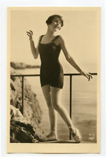 1920s Cute pose Mandel FRENCH FLAPPER Swimsuit Bathing Suit photo postcard