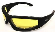 WIDE FIT Low Light Shatterproof Yellow Lens Motorcycle Biker Padded sunglasses