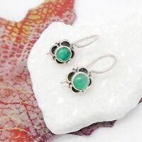 Onyx rund grün Blume Blüte Design Ohrringe Ohrhänger 925 Sterling Silber neu