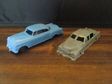 Blue Plastic Cadillac Couple & Grey Plastic Sedan