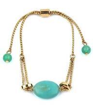 G3 Semi Precious Stone BRACELET Ball Link Pull Tie Gold Green Amazonite