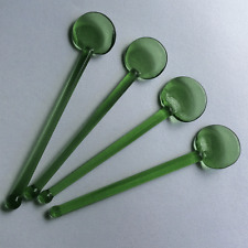 Hand Blown Glass Green Green Salt Spoons, Set of Four, Ships Free