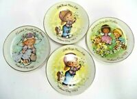 LOT OF 4 PRECIOUS MOMENTS MOTHER'S DAY 1981 1982 1983 MINI COLLECTOR PLATES AVON