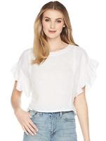 JOIE Febronia Ruffle Sleeve Top White Size M 84958