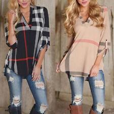 Damen V-Neck Langarm Shirt T-shirt Kariert Hemd Tunika Bluse Hemd Plaid Gr.34-40