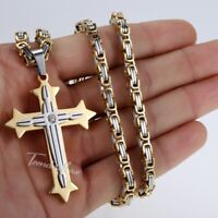 """5mm Stainless Steel Jesus Cross Pendant Necklace Sweater Byzantine Chain 18-36"""""""
