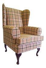 Wing Back Queen Anne Chair Beige Lana Tartan Fabric
