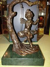 Auguste Moreau Signed Bronze Statue Fairy On Swing Marble Base Art