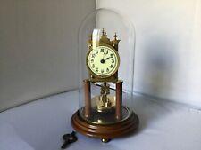Antique German Wooden Base And Column Disc Pendulum Torsion Anniversary Clock