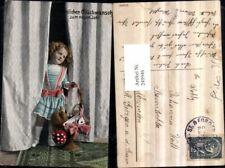 249946,Neujahr Vorhang Mädchen m. Kleid Korb Hufeisen Geldsack Brief Fliegenpilz
