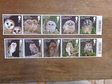GREAT BRITAIN 2018 BIRDS- OWLS SET 10 MINT STAMPS