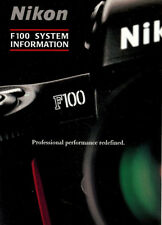 NIKON F100 35mm SLR CAMERA SYSTEM CHART BROCHURE --NIKON F100-from 2004