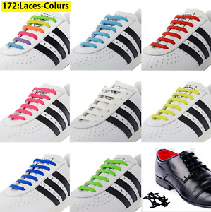 Elastic No Tie Shoe Laces Silicone Shoelaces For Adults & Kids Trainers Shoes Uk
