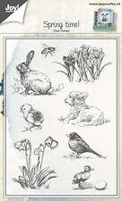 Joy Crafts claro sello-Primavera-Conejo Cordero Chica Flores 6410/0441
