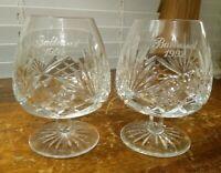 "VINTAGE MILLER ROGASKA RICHMOND BRANDY GLASS ENGRAVED ""BALTUSROL 1992"" IN BOX"