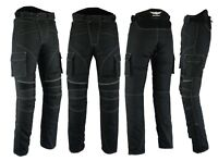 Mens Motorbike Motorcycle Textile Pants Trousers Armoured Waterproof Black Cargo