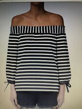 Seed Heritage Top Size Medium Navy and White Off Shoulder Striped
