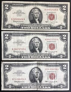 1963 Red Seal $2 Dollar Bill Legal Tender Note - Lot Of 3 (C199)