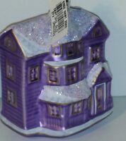 "Victorian House Figural Czech Mouth Blown Glass Christmas Ornament 4"" Vtg Purple"