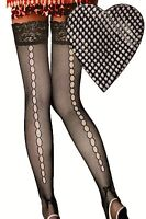 NEW (6294) Ladies Open Ladder Seam Net Hold-Ups Tights Black One Size