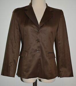Talbots 4P Blazer Brown Button Front Silk Blend Lined Jacket 4 Petite