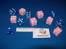 NEW 24 ASSORTED OPAQUE DICE 16mm BLUE AND PINK, 2 COLORS 12 OF EACH COLOR
