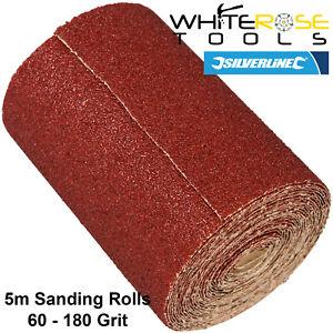 Silverline 5m Sanding Roll Aluminium Oxide 40-180 Grit Sand Paper Abrasive Wood