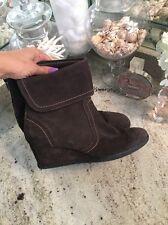 Geox Respira Brown  Suede Wedge Heel Ankle Boots, Booties Women Sz 41