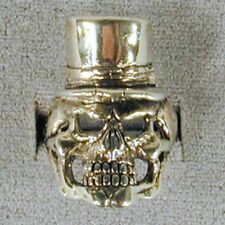 2 SKULL IN TOP HAT BIKER RING BR52 choppers rings
