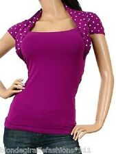 Magenta/White Polka Dot Cap Sleeve Shrug/Vest Top S