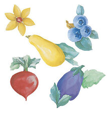 Summer Garden Blueberries Beets Pears Eggplants Flowers 25 Wallies Cutouts Decal