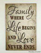 PRIMITIVE RUSTIC COUNTRY WOOD FAMILY SIGN HANDMADE INSPIRATIONAL HOME WALL DECOR