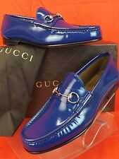 NIB GUCCI BLUE ROYAL SHADE LUX LEATHER SILVER HORSEBIT LOAFERS 9 10 #387598