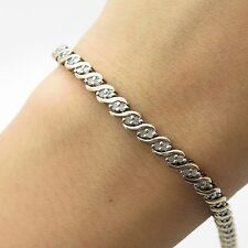 925 Sterling Silver Real Diamond Link Bracelet 7""