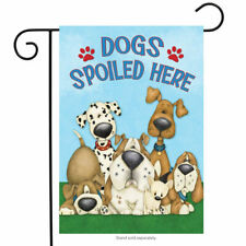 """Fm143 Dogs Spoiled Here Puppy Paw Print Summer 12""""x18"""" Garden Flag Banner"""