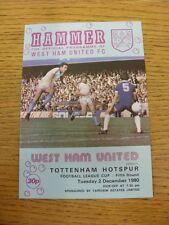 02/12/1980 West Ham United V TOTTENHAM HOTSPUR Football League Cup [] (Team Chang