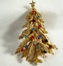 ART Christmas Tree Rhinestones Multi Color Gold Plated Brooch Pin Signed Vintage
