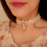 Gothic White Flower Pearl Lace Pendant Necklace Choker Clavicle Collar Jewelry