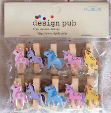 10pcs Unicorn 35mm Wooden Pegs Wood Clip Rope Clothes Photo Paper Pin Kids Craft