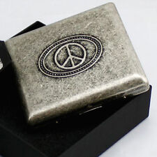 Peace Sign Metal Cigarette Case By Team Pistol Holds 20 Cigarettes, New In Box