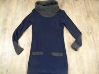 WE schönes Strickkleid mit Rollkragen blau grau Gr. S TOP MS1117