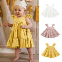 Toddler Kids Baby Girls Ruffle Solid Linen Elegant Princess Party Dress Cloth