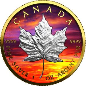 Kanada. 5 Dollars 2021 - Maple Leaf - Sunset -  1 Oz nur 500 Stück weltweit