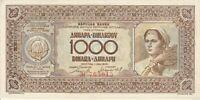 Vintage AU/UNC Banknote Yugoslavia 1946 1000 Dinara Pick 67b US Seller