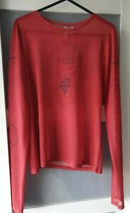 Mesh Red Graphic Long Sleeved Top, H&M Womens Size Small