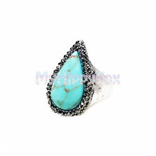Lucky Brand Antiqued Silver Tone Pave Stone Turquoise Statement Ring