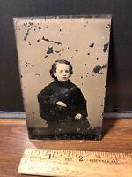 Antique Civil War Era Victorian Child Tintype  Photo Photograph Vintage