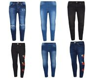 Girls Kids New Denim Jegging Jeans Ripped Floral Stretch Pants Trousers Age 5-13