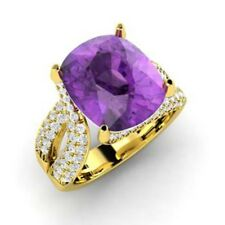 14K Yellow Gold Certified 5.00Ct Diamond Engagement Ring Amethyst Rings Size 7 5